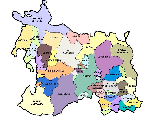 Mapa Provincia De Huesca Pueblos.Municipios